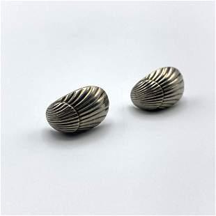 GEORG JENSEN #90 Sterling Silver Shell Form Earrings. S