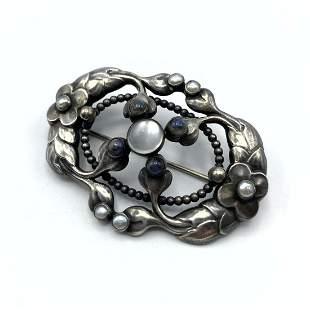GEORG JENSEN #76 Sterling Silver Brooch Pin. Ornate Des