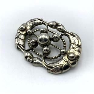 GEORG JENSEN #76 Sterling Silver Ornate Pin Brooch.  Ma