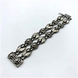 GEORG JENSEN #3 Double Sterling Silver Bracelet. Leaves