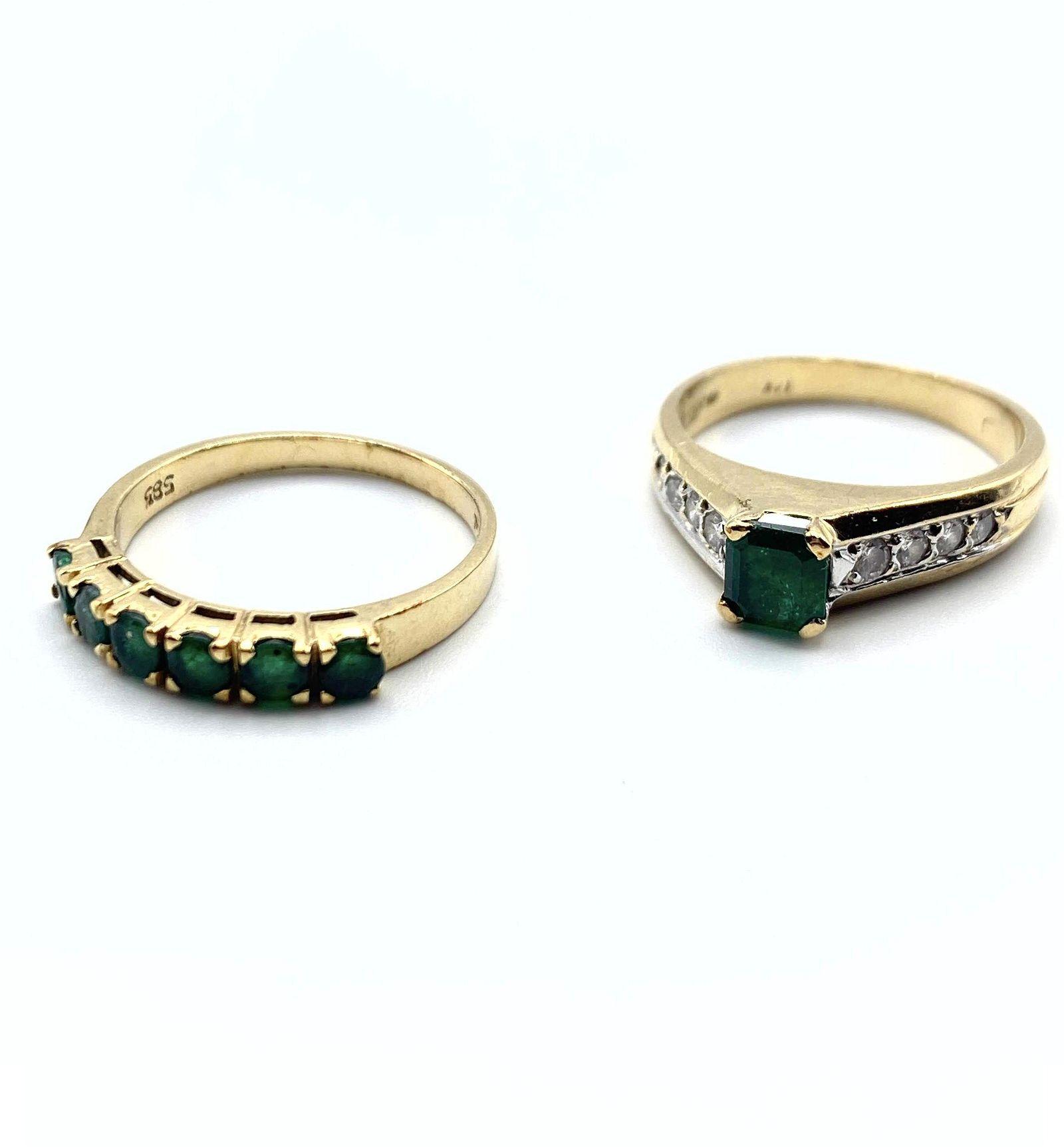 2pc 14K Gold Emerald Ladies Rings. 1) Square emerald st