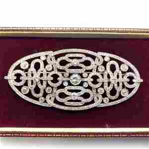 Platinum Diamond Large Brooch Pin. Single & Rose Cut An