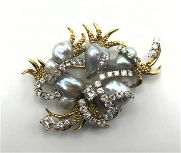 ENRICO SERAFINI Italian 18K Gold Diamond Pearl Brooch.