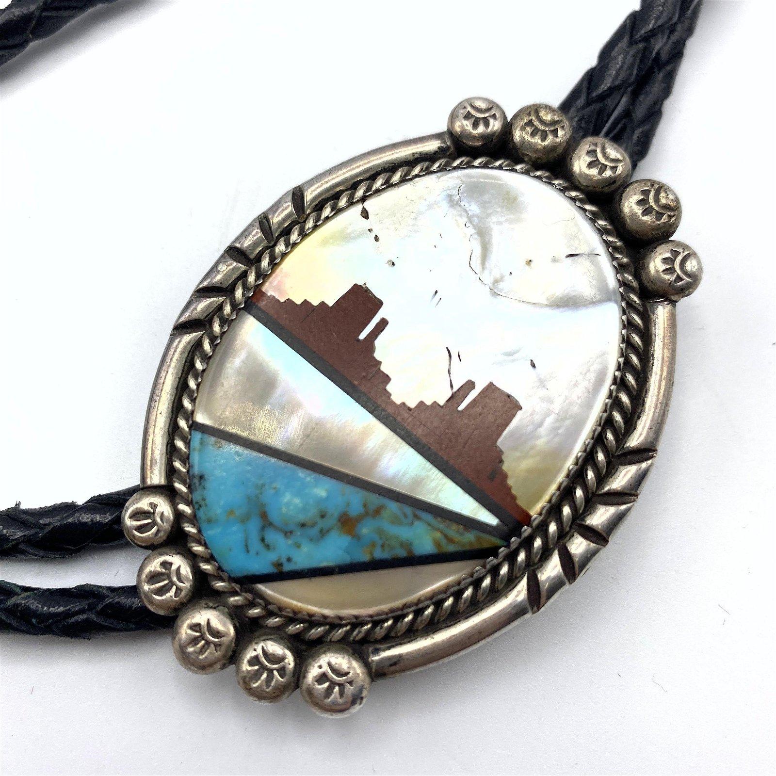 Sterling Silver Inlaid Butte Landscape Bolo Tie. Native