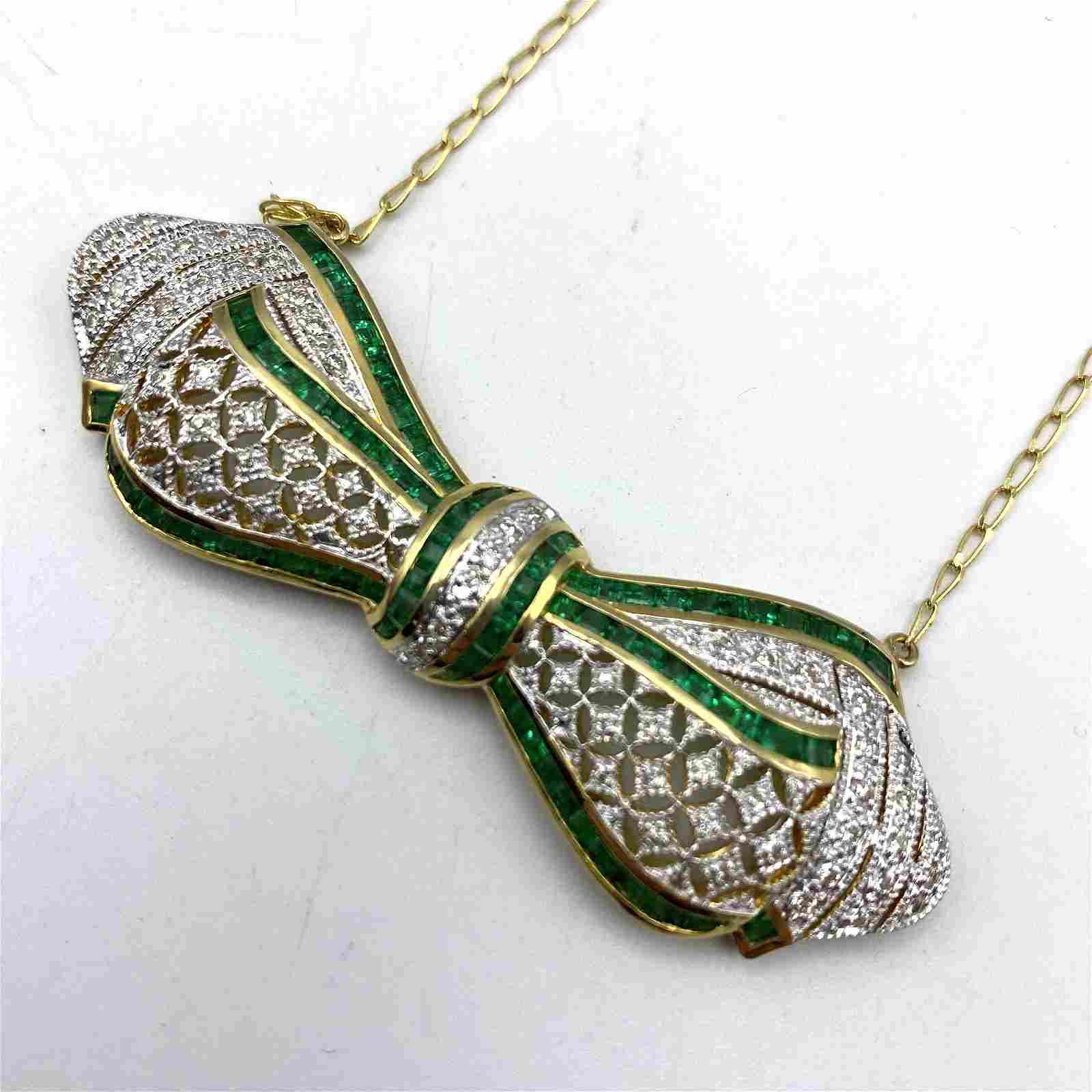18K Gold Diamond Emerald Bow Necklace. Large Pierced Ye