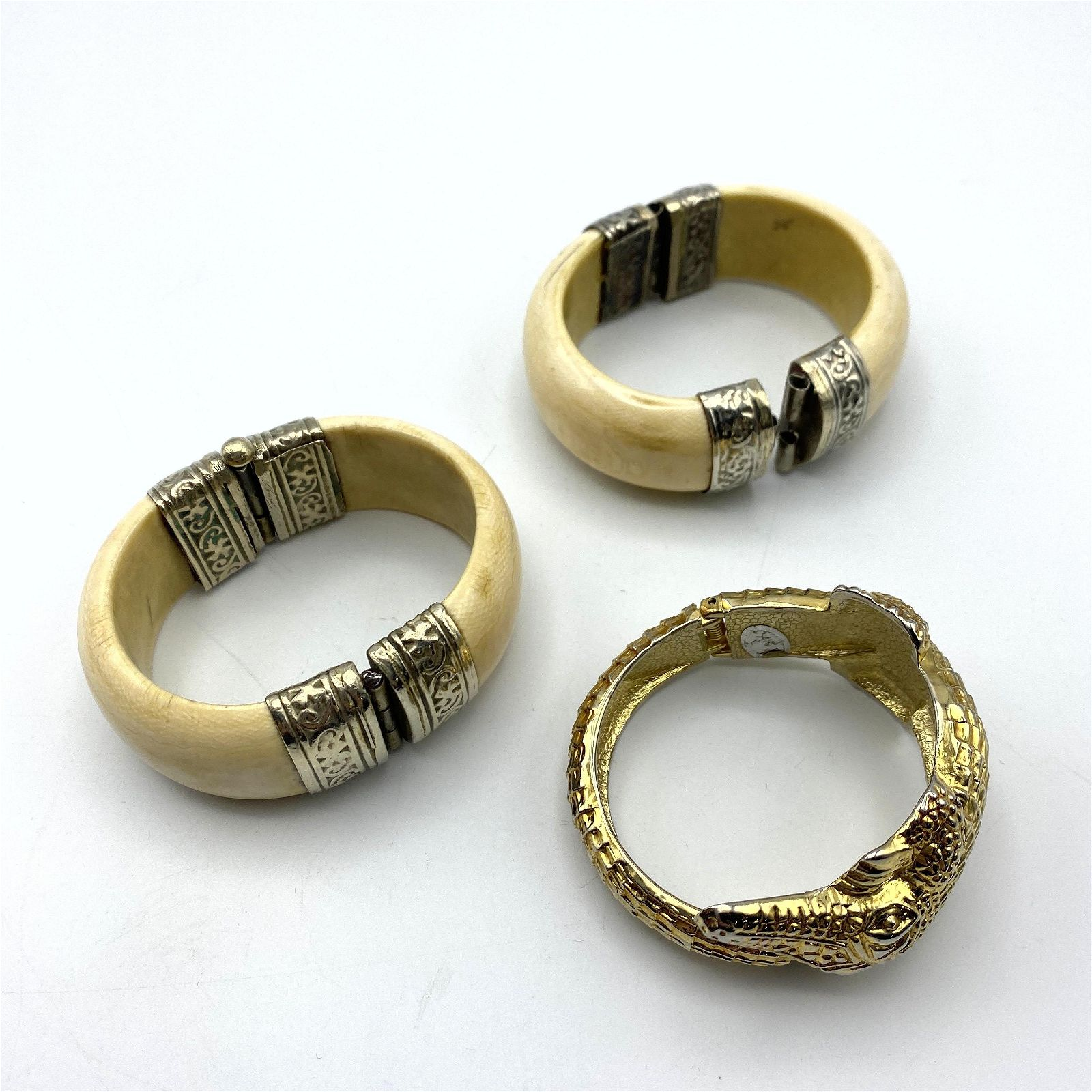 3pc Costume Cuff Bracelets. Figural Gilt Metal Alligato