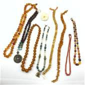 9pc Beaded Necklace Carved Pin Lot Amber Glass and s