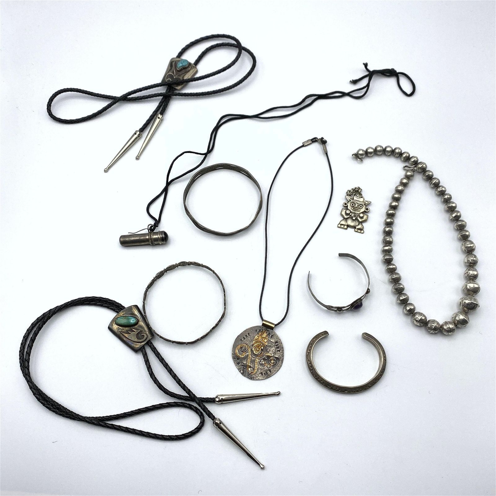 10pc Sterling & Silver Jewelry Lot. Two Native Indian B