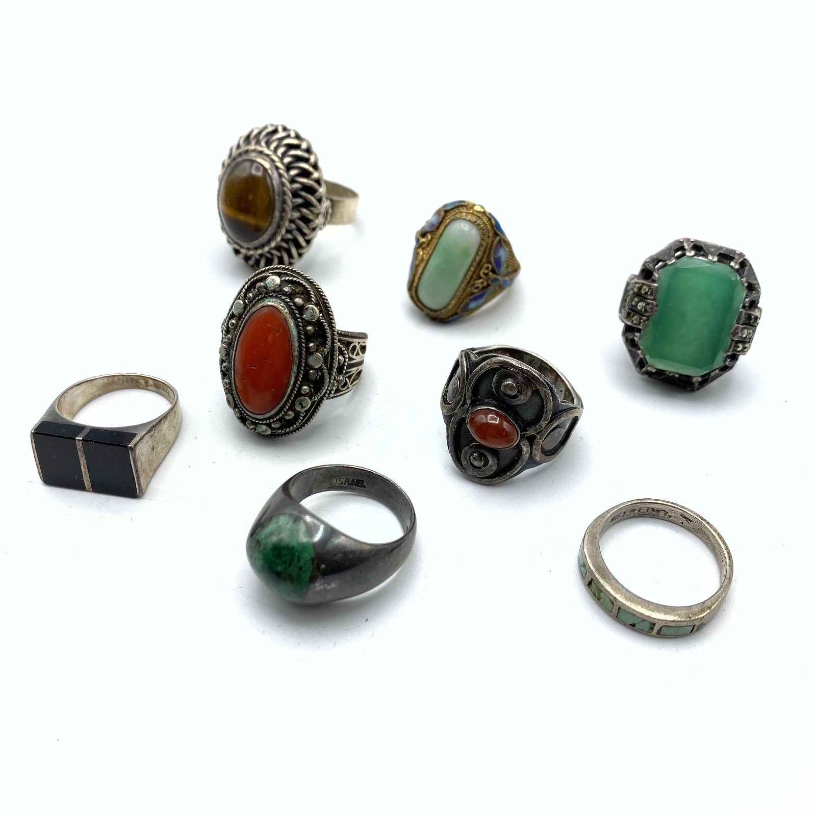 8pc Sterling & Silver Stone Rings. Vintage. Mostly ethn