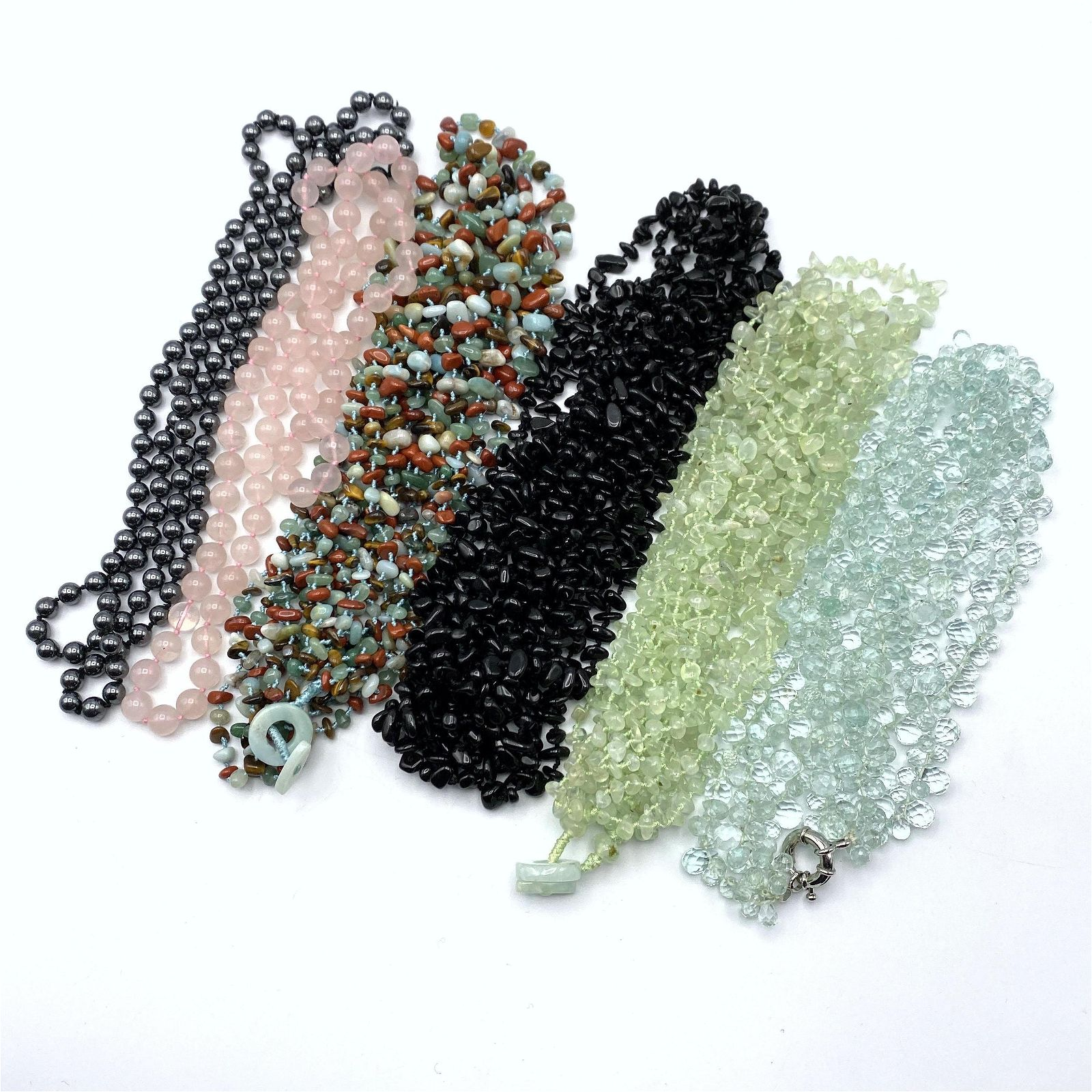 6 Beaded Vintage Necklaces. Rose Quartz. Black Onyx. Ma