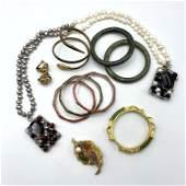 11pc Vintage Costume Jewelry. Figural Snake Slave Brac