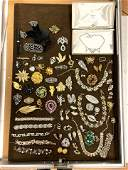 LOT A   Large Box Lot Costume Jewelry. Crystal & Rhines