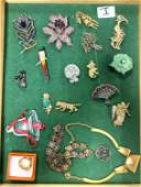 LOT l Large Lot Vintage Costume Jewelry. HERMES Gold To