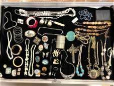 LOT M Large Lot Vintage Costume Jewelry. Necklaces, Ear