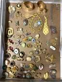 LOT P Large Lot Vintage Costume Jewelry Brooch Lot. Lar
