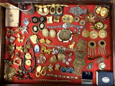 LOT S Large Lot Vintage Costume Jewelry Brooch. Large c
