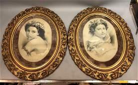 """Pr Lithographic Portrait Prints. Carved gilt 4.25"""" Fren"""