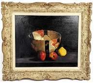 Signed Rosenbluh Still Life Oil on Canvas. Fruit and bo
