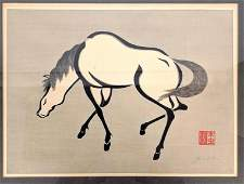 Black and white Asian woodblock print of horse Pencil