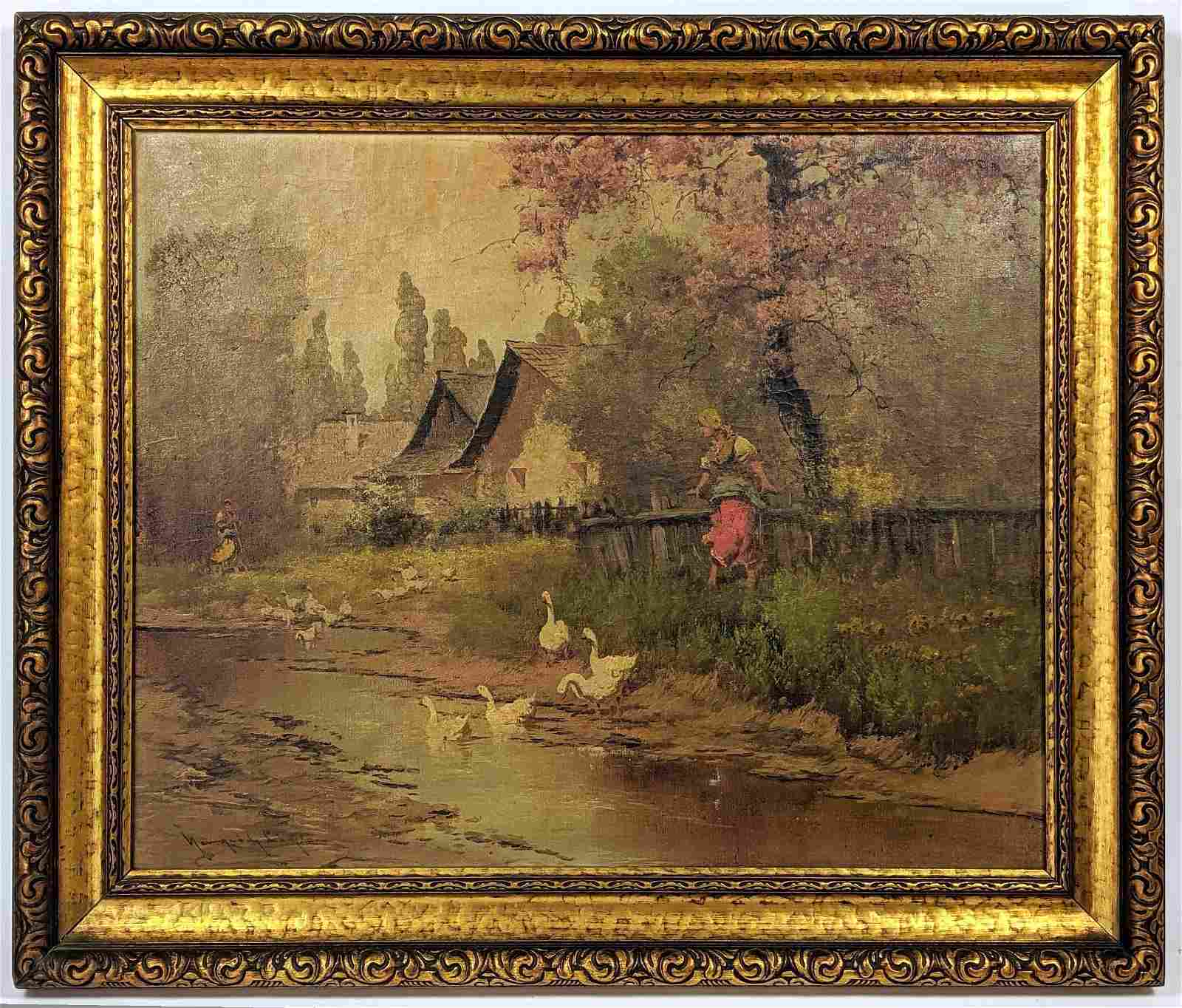 Neogrady Laszlo Painting on canvas of woman with ducks.