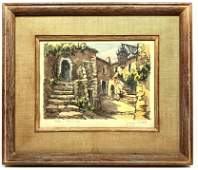 """French Street Scene Watercolor Painting. """"EZE - Vieille"""