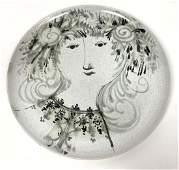 Bjorn Wiinblad Danish pottery portrait plate charger. L