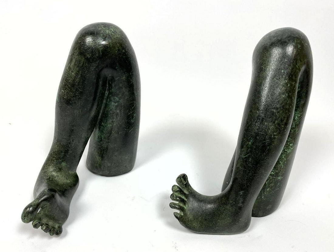 Pr CHECCACCI Patina Bronze figural leg table sculptures
