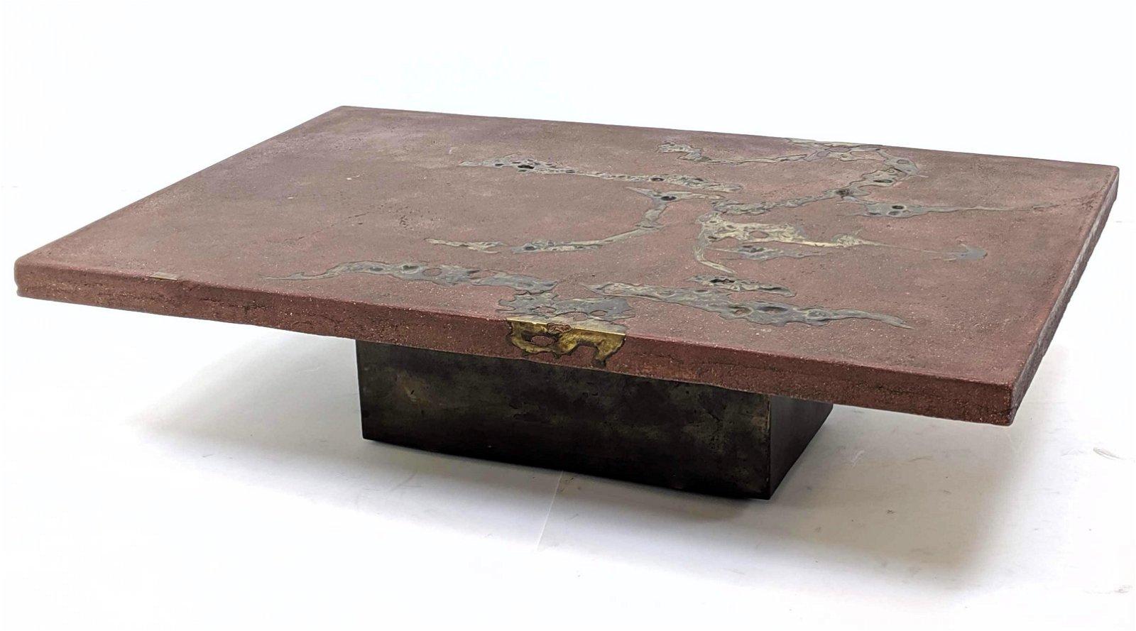 """SILAS SEANDEL Concrete & Bronze Inlay """"Terra"""" Table. Re"""