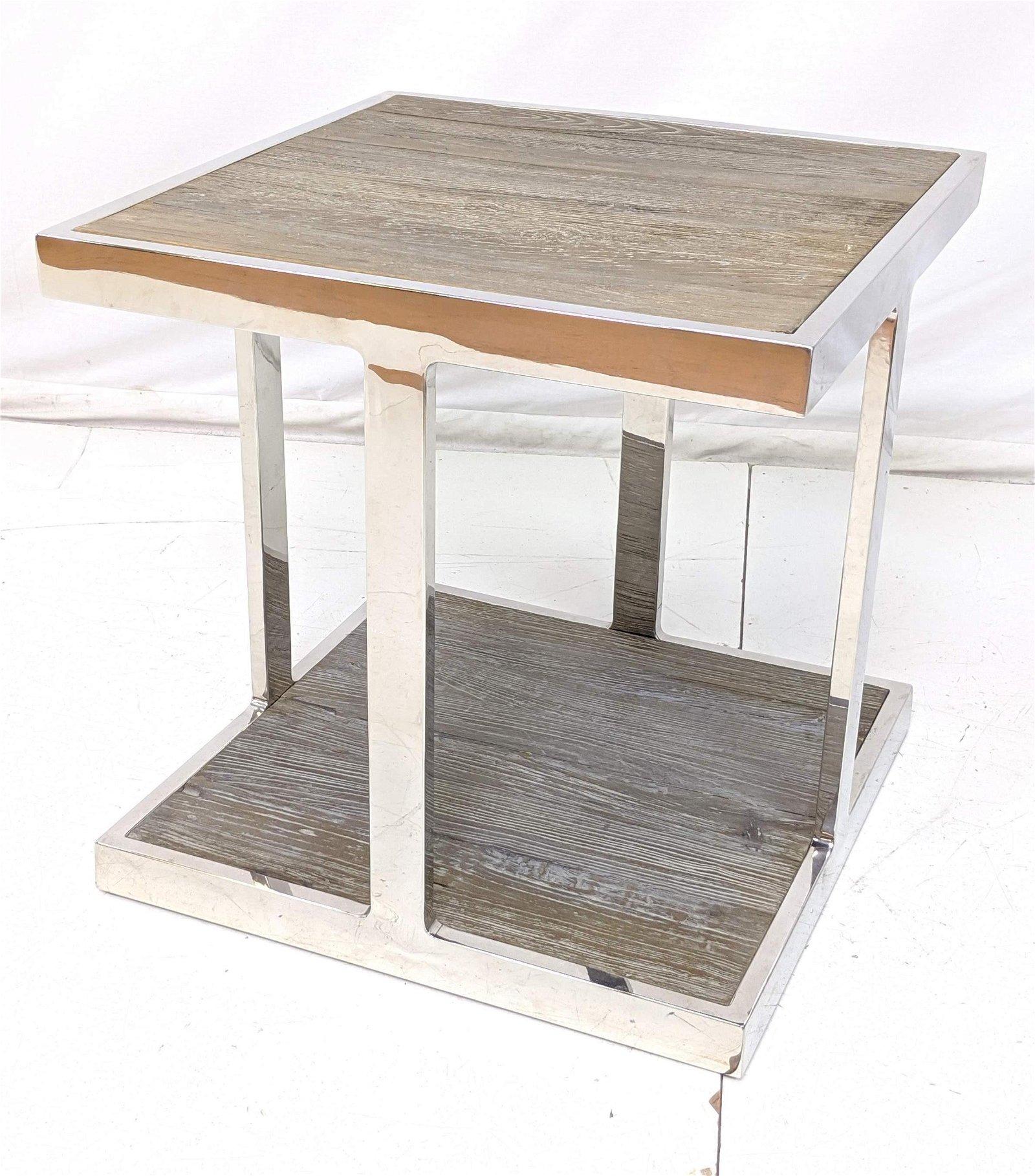 LILLIAN AUGUST Designer Chrome and Barn Wood Side Table