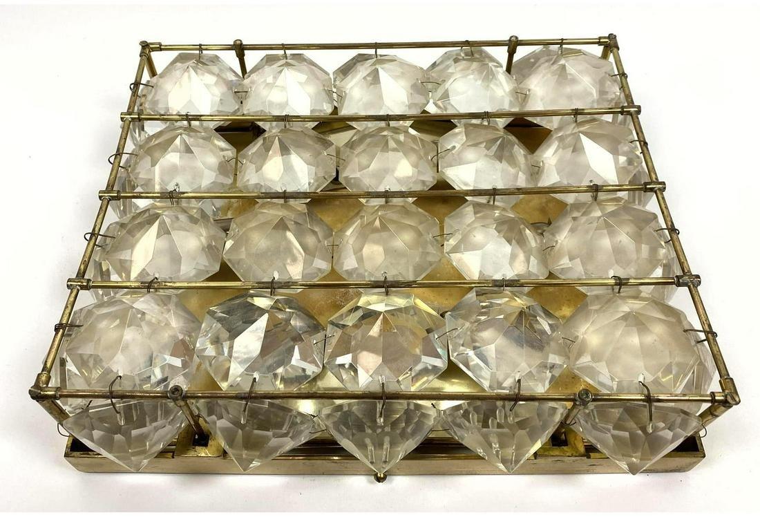 Modern Faceted Crystal Metal Frame Ceiling Mount Light.
