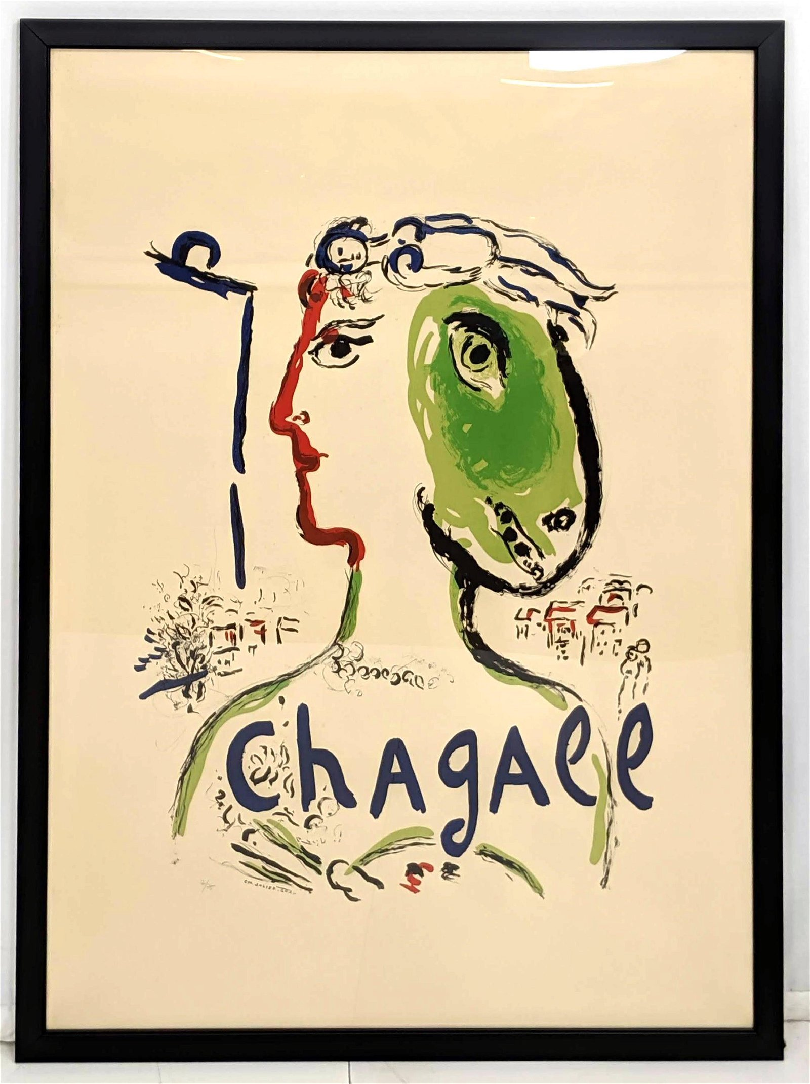MARC CHAGALL Large Poster Numbered Lithograph Print. Vi