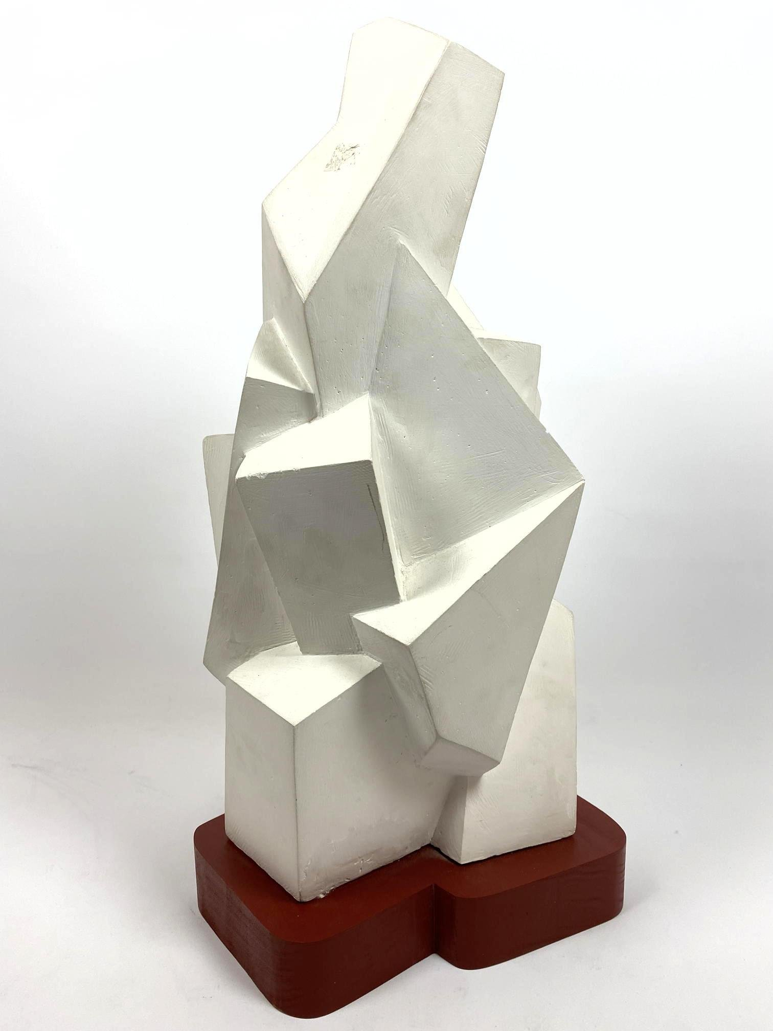 Futurist Painted Wood & Plaster Modernist Sculpture. Ca