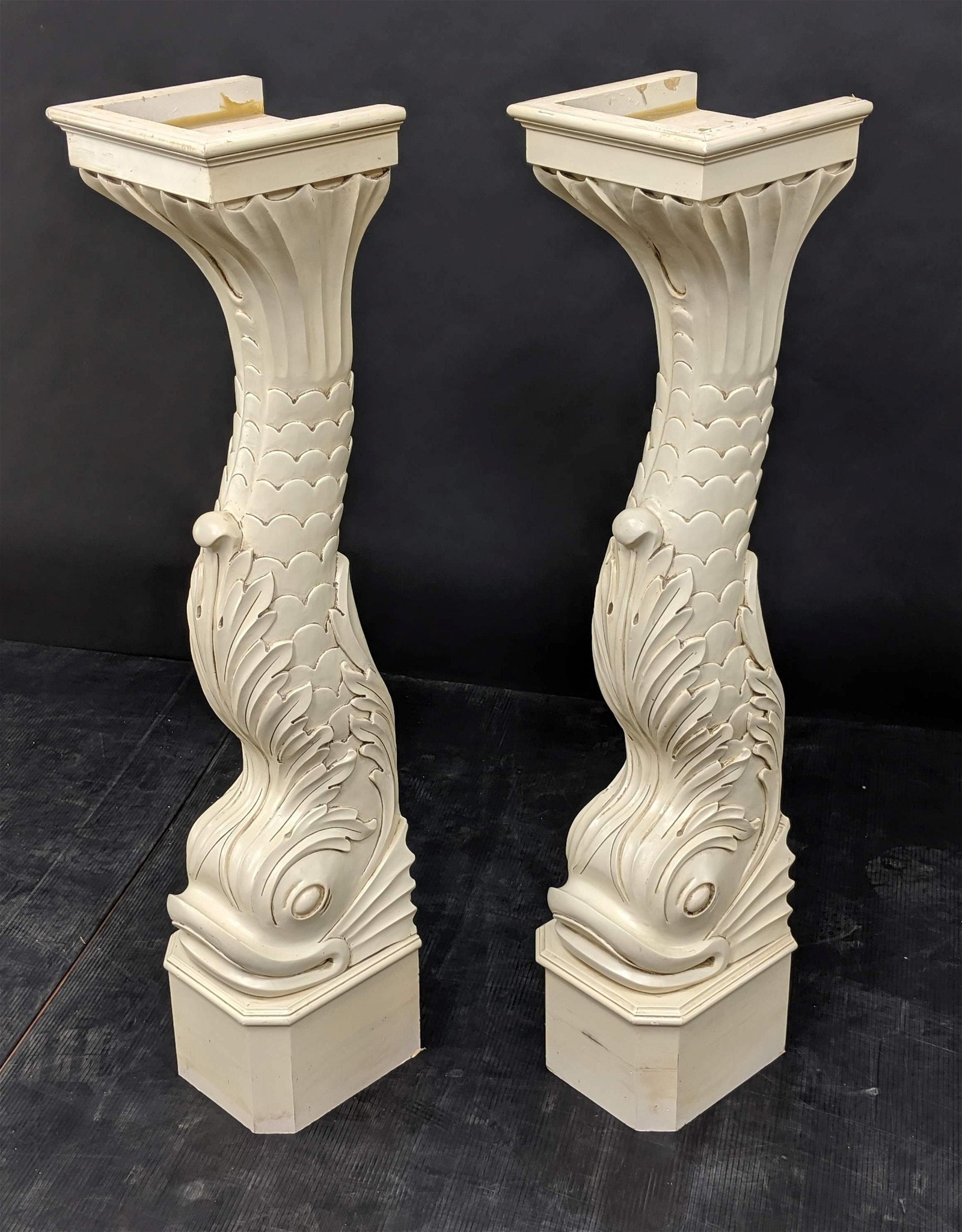 Pr Figural Dolphin Wall Mounted Brackets. Carved Wood w