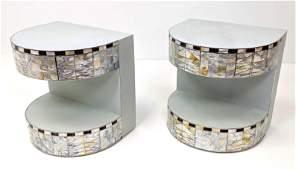 R.Y. Augousti Style Side End Tables. Pr D Shaped Deco