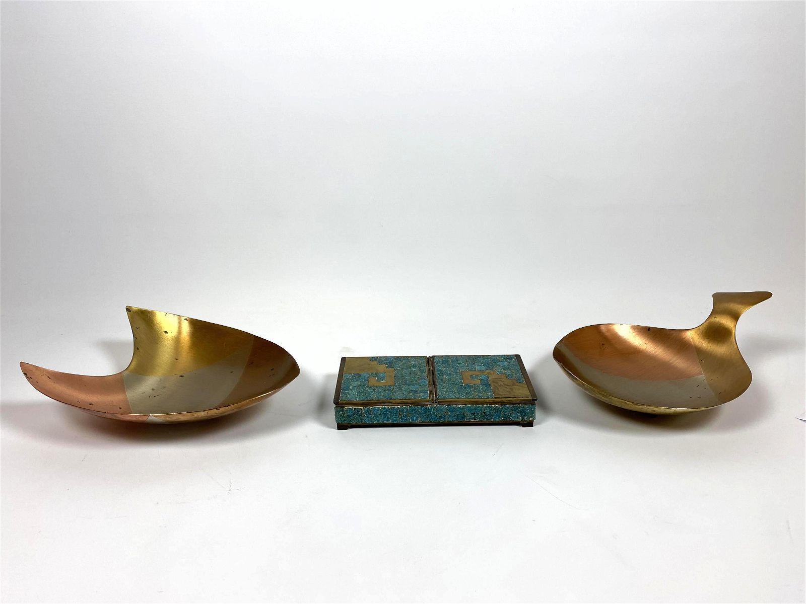 3pc Modernist Mexican Metals Lot. Inlaid glass tile bra