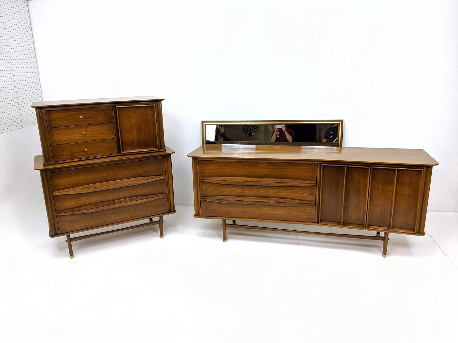 2pc DANIEL JONES American Modern Walnut Dressers. Tall