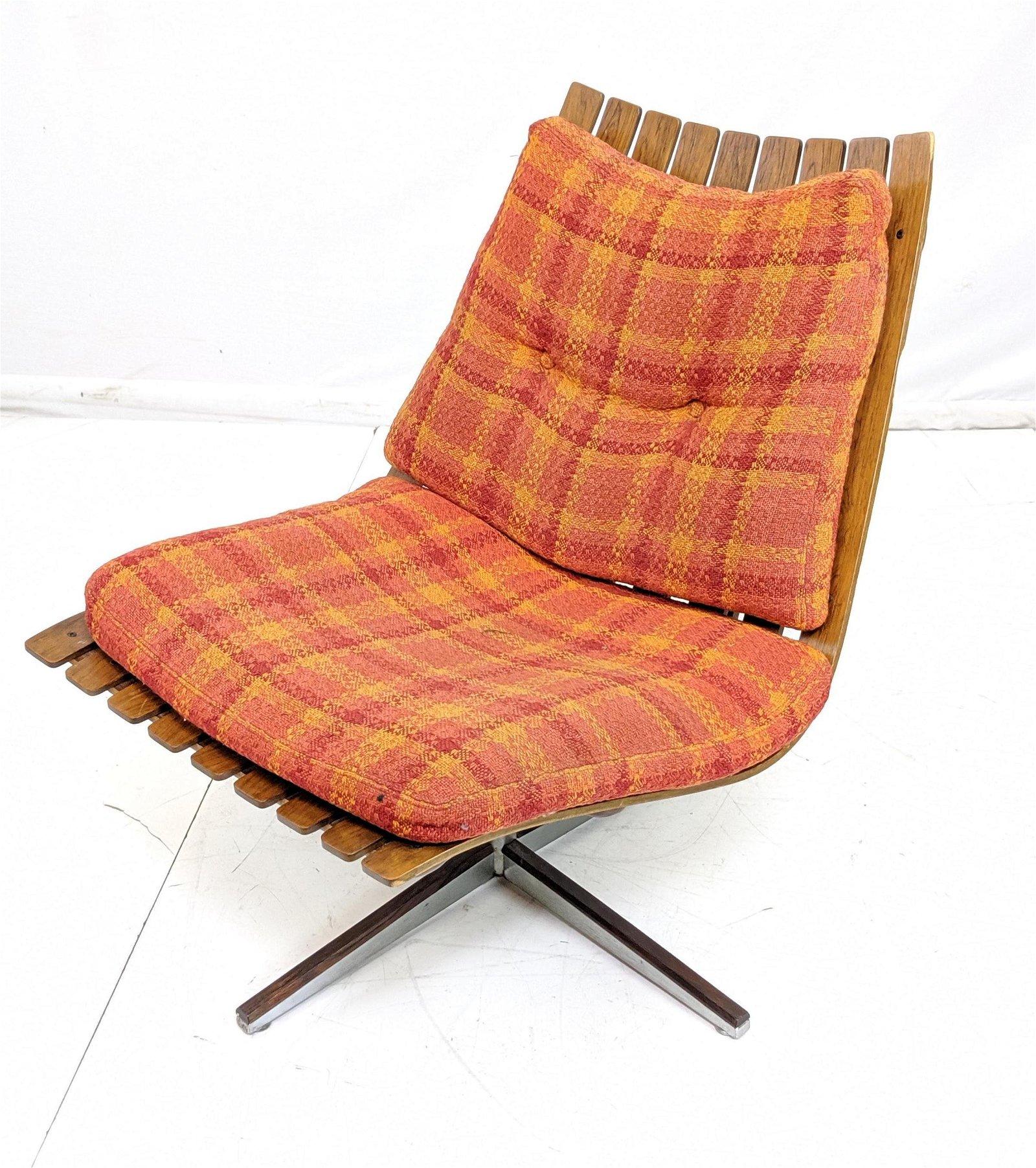 Hans Brattrud Rosewood Slat Lounge Chair.   Mid Century
