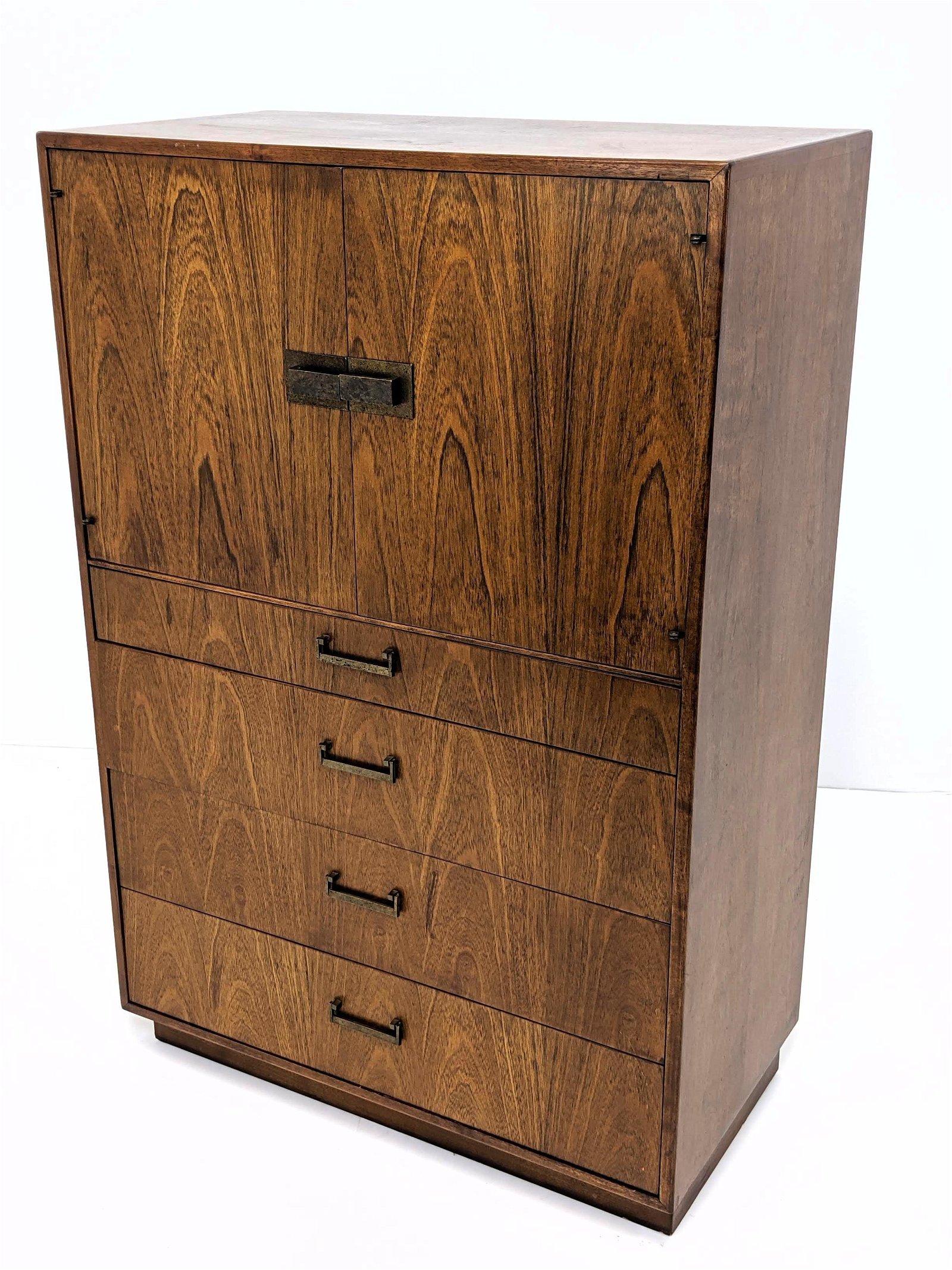 FOUNDERS American Modern Walnut Tall Chest Dresser. Two