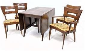 5pc HEYWOOD WAKEFIELD Dining Table Chairs. Drop Side Da