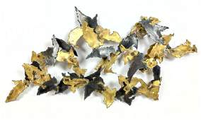 Brutalist Welded metal Modernist Wall Sculpture Brass