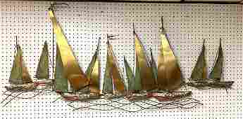 C JERE Figural Metal Sailboat Wall Sculpture Mixed met