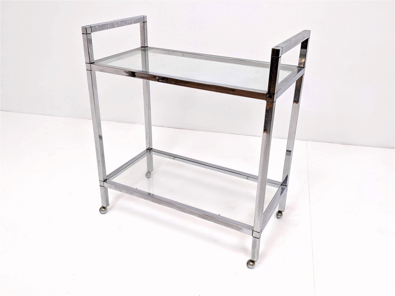 Square Tube Frame Chrome 7 Glass Rolling Serving Cart.