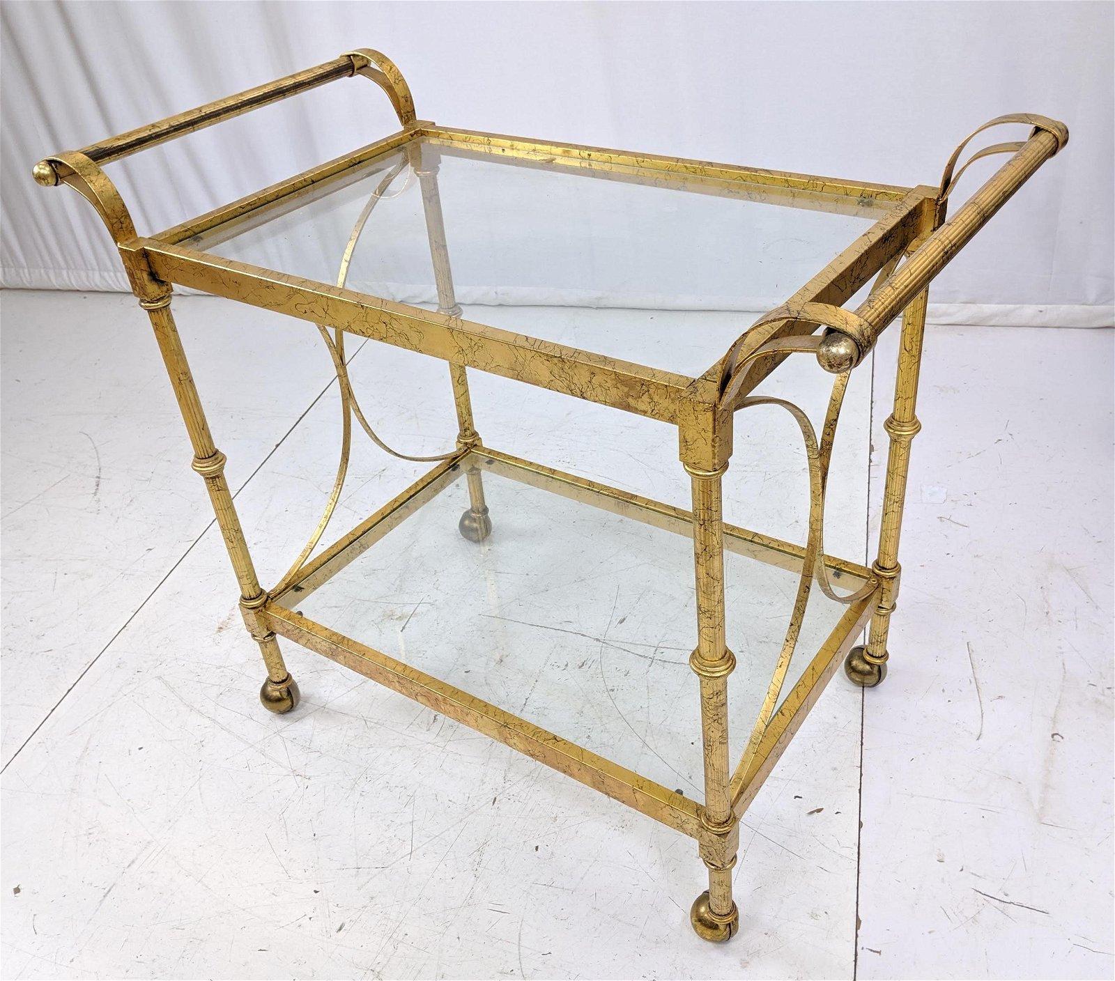 Decorator Gold Gilt Painted Metal and Glass Bar Cart