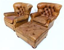 Ralph Lauren Chesterfield Leather Wing Chairs  Ottoman
