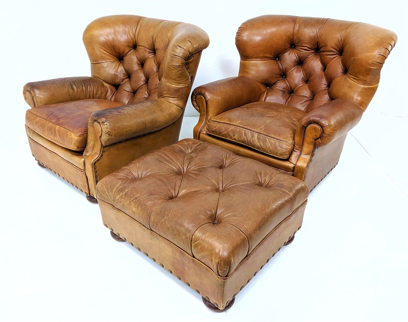 Ralph Lauren Chesterfield Leather Wing Chairs / Ottoman