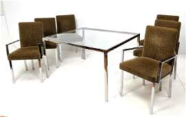 7pc Chrome Glass Dining Table Chair Set. Chrome frame G