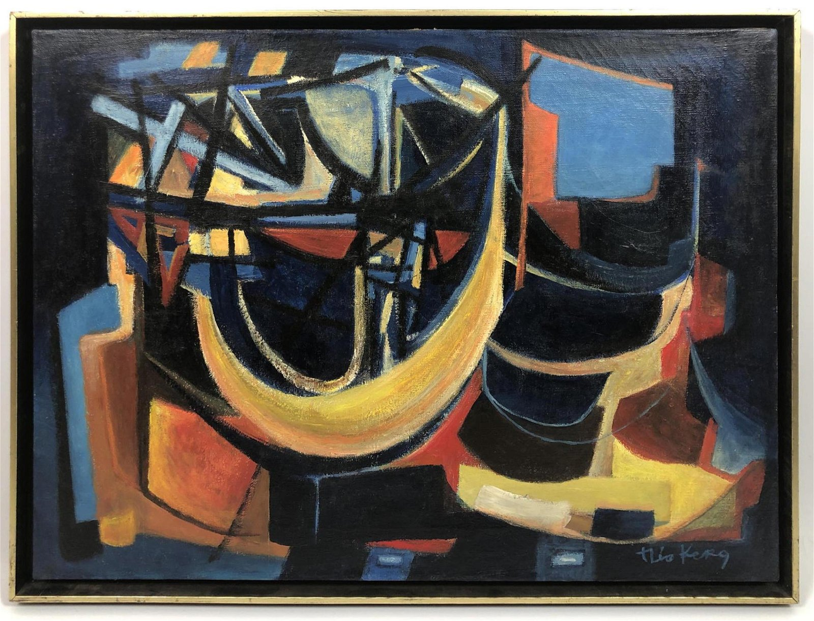 THEO KERG Modernist Abstract Oil Painting.
