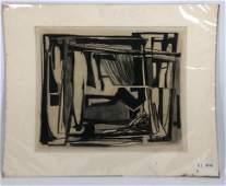 LUDWIG SANDER Original Charcoal Drawing. Modernist Abst