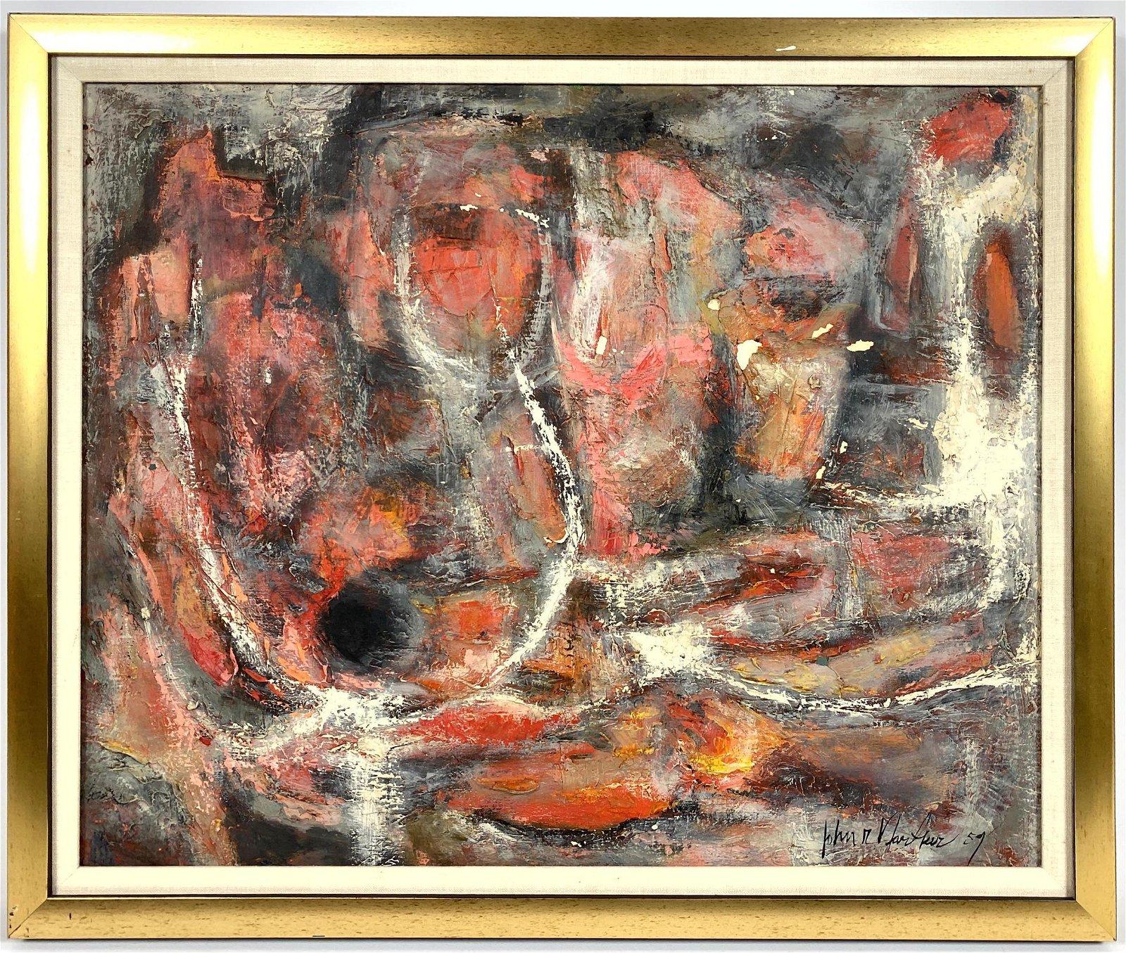 JOHN NARTKER 1959 Modernist Abstract Oil on Canvas. Cha
