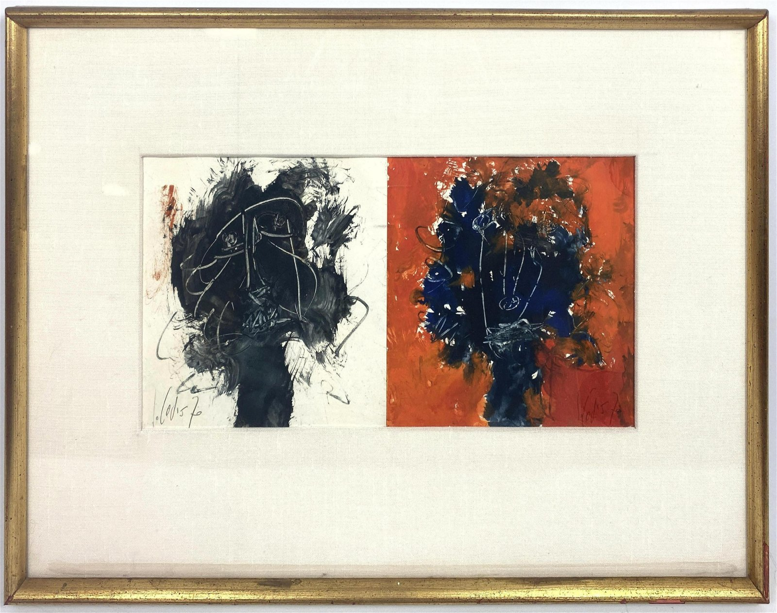 Signed Diptych Acrylic and Ink Drawings on Paper. Each